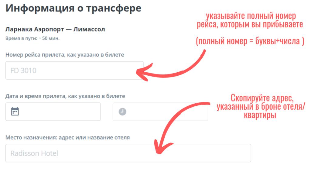 Скриншот пример заполнения формы заказа кивитакси