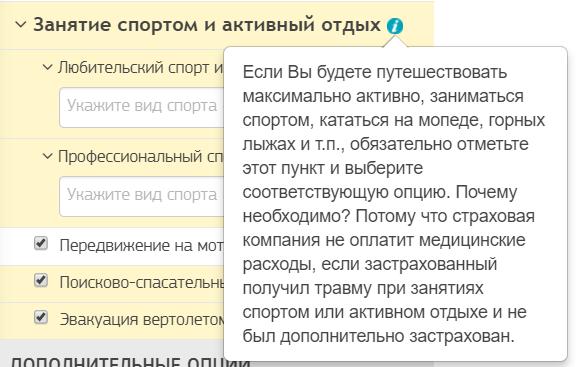 Дополнительная опция Занятие спортом и активный отдых (cherehapa.ru)