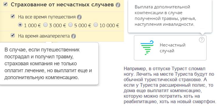 опция Страхование от несчастных случаев (sravni.ru+Черехапа)
