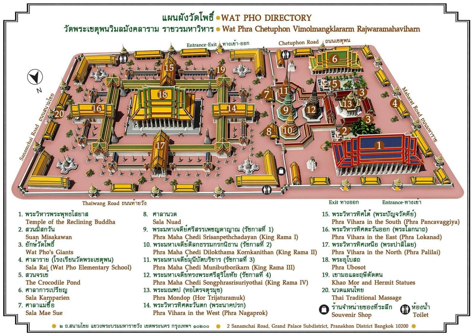 Карта Wat Pho в Большом дворце Бангкок