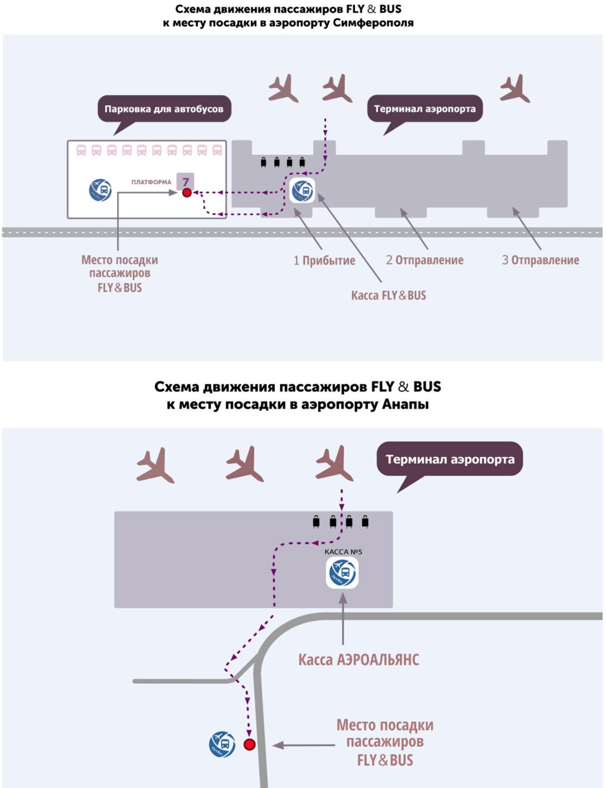 Схема движения в аэропорту Симферополя и Анапы Единый билет до Крыма