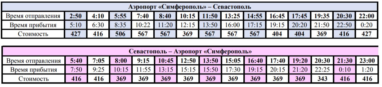 Цены по единому билеты на автобусы из аэропорта Симферополь