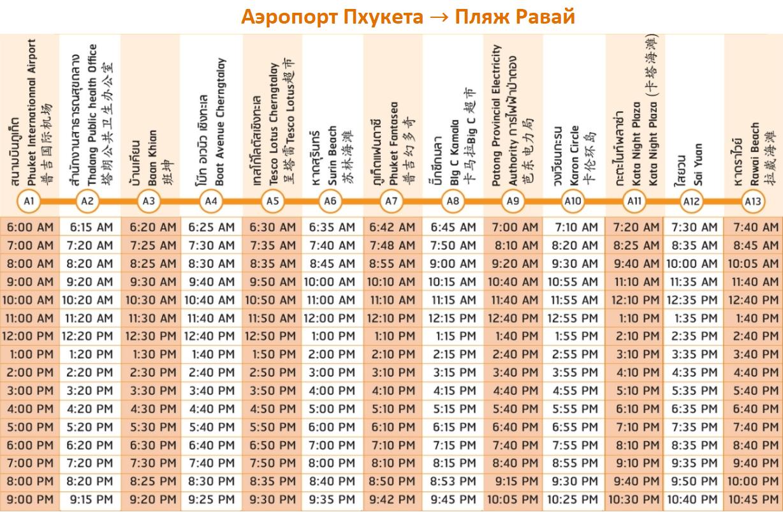 Расписание автобусов из аэропорта Пхукета