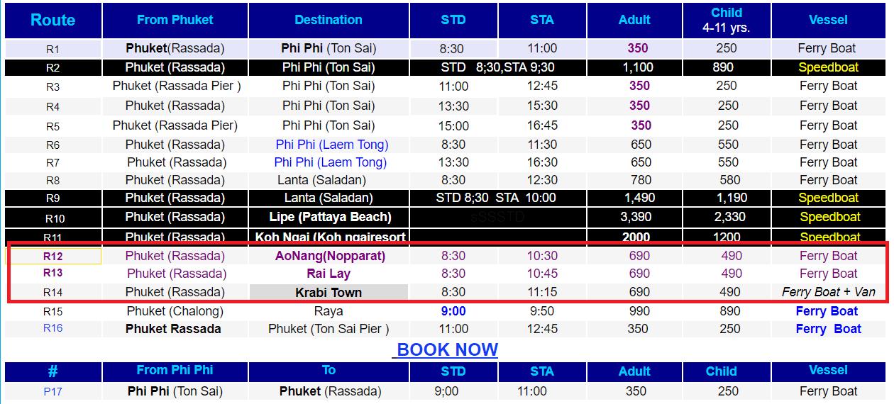 Скрин с сайта Rassada Pier с ценами и расписанием