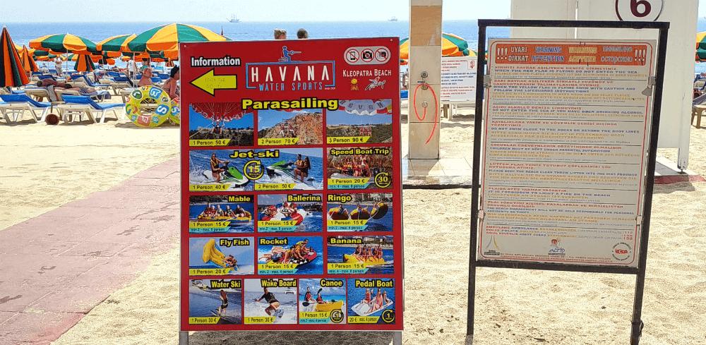 Развлечения на пляже Клеопатра, Аланья