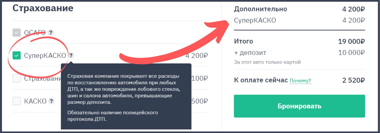 Пояснение суперКАСКО на сайте myrentacar